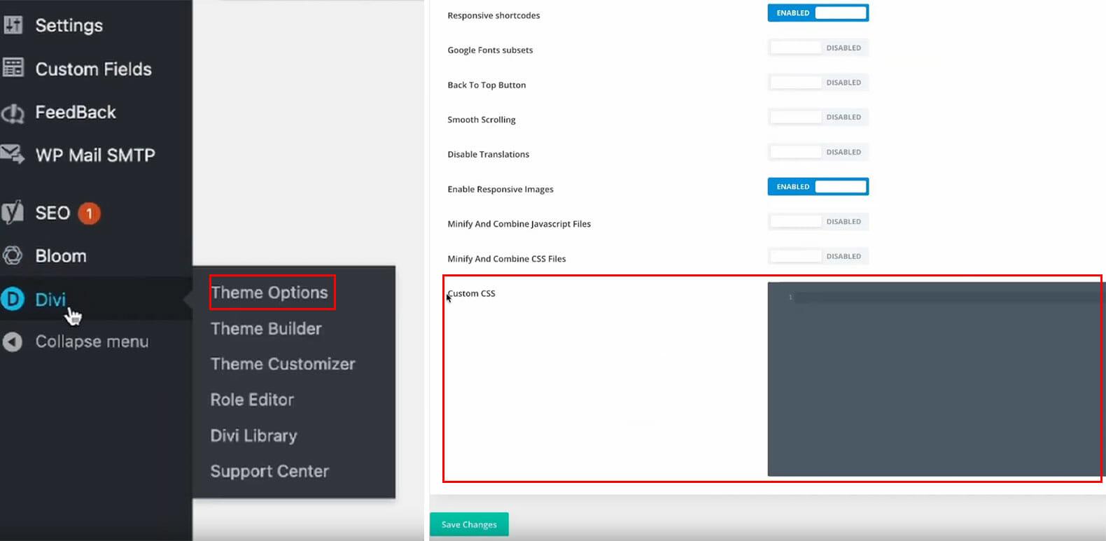 "Hier siehst du eine Anleitung, wie du um Feld ""Custom CSS"" kommst"