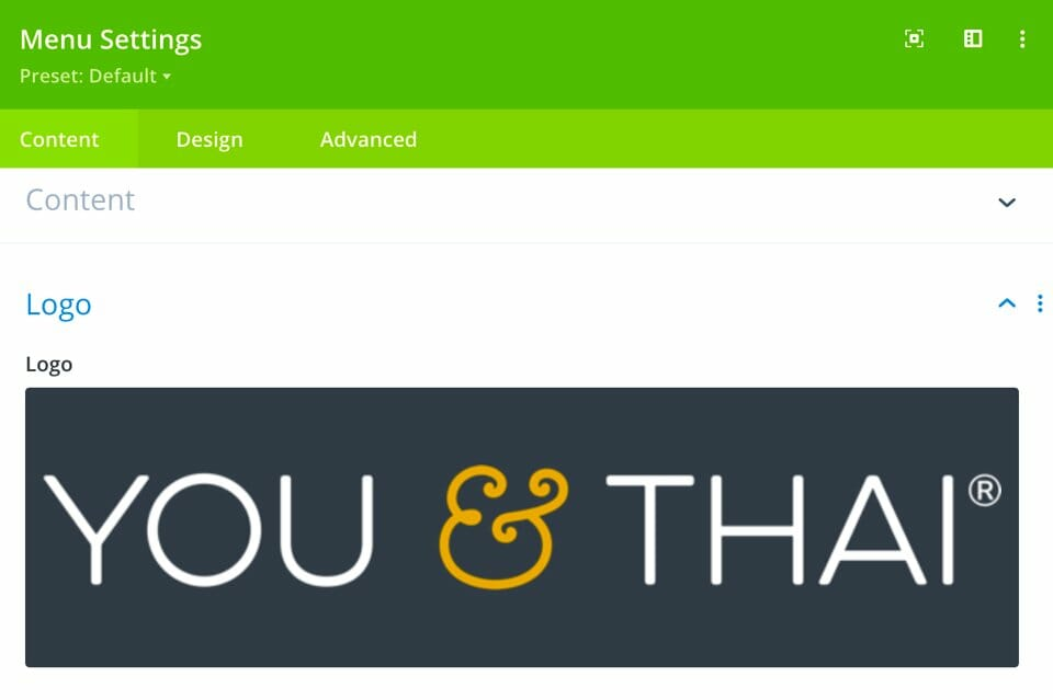 Beim hochgeladenen Logo sollte es sich um die Version des Logos handeln, die ihr VOR dem Scrollen anzeigen möchtet.