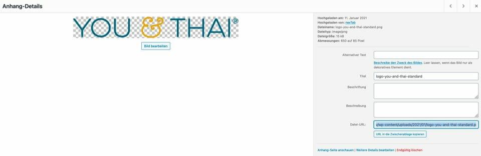 """Rechts unten im Screenshot seht ihr die URL der hochgeladenen Datei und darunter den Button """"URL in die Zwischenablage kopieren"""""""