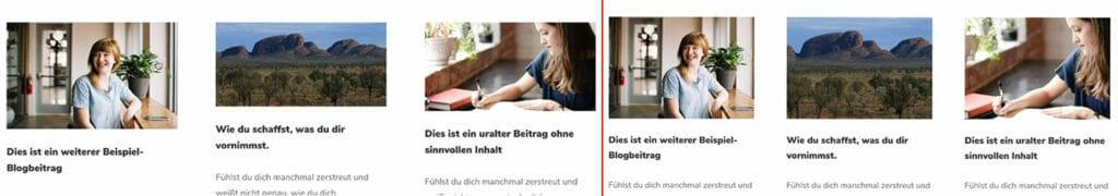 links: das unbearbeitete Blog-Modul; rechts: das per CSS bearbeitete Blog-Modul