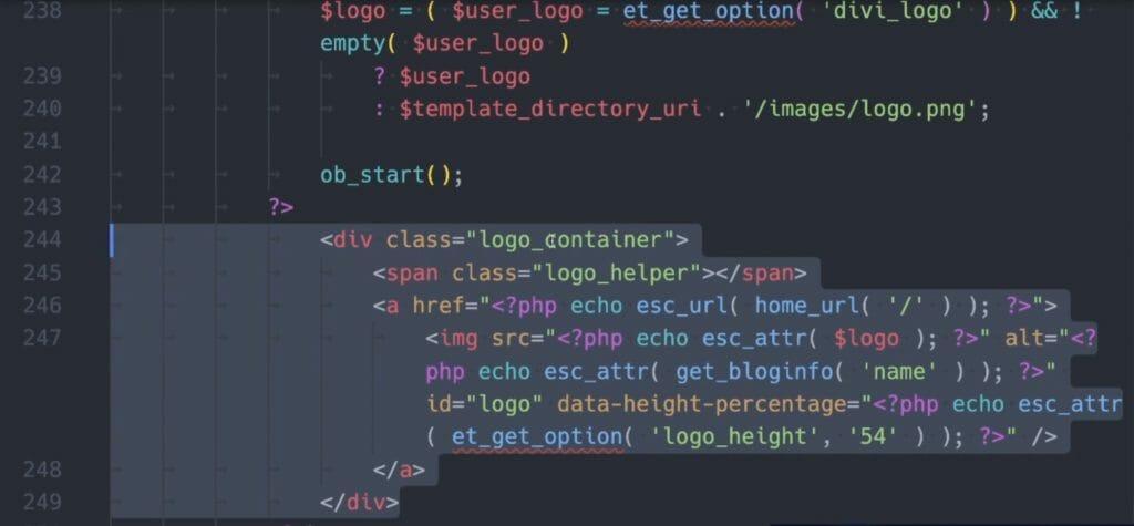 Code Block des logo_container in der header.php