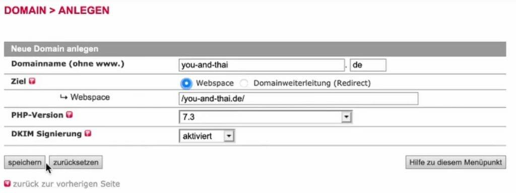Domain anlegen all-inkl.com