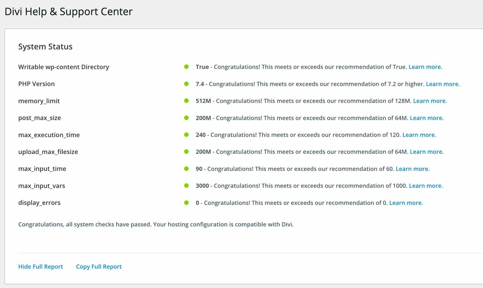 So sieht eine hervorragende Server-Konfiguration aus, mit der ihr keine Probleme mit Divi haben werdet